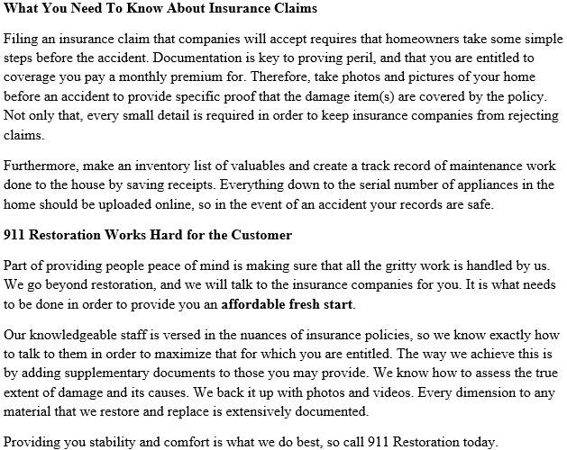 911 Restoration of Los Angeles Insurance