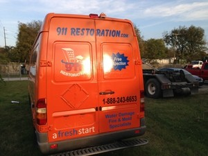 911 Restoration Los Angeles Van at Restoration Site