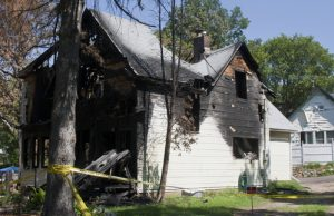 Ruins of a single family home destroyed by fire
