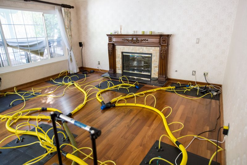 Water damage restoration equipment in home